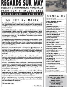 Couverture Le journal de May N° 65 due février 2013