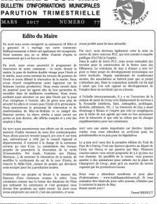 Couverture Le journal de May N°77 de mars 2017